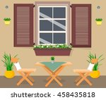 interior. table and chairs near ... | Shutterstock .eps vector #458435818