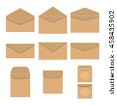 set brown paper envelopes of... | Shutterstock .eps vector #458435902