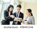 asian business team talking... | Shutterstock . vector #458441146