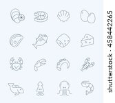 lines icon set   raw food... | Shutterstock .eps vector #458442265
