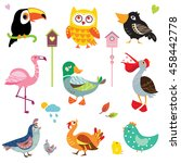a set of cute bird vector... | Shutterstock .eps vector #458442778