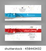 grand opening cards with silk... | Shutterstock .eps vector #458443432