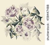 pink roses  with  butterflies... | Shutterstock . vector #458447488