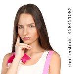 depressed woman | Shutterstock . vector #458451082