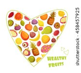 healthy fruits diet... | Shutterstock .eps vector #458457925