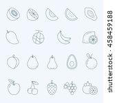 lines icon set   fruit | Shutterstock .eps vector #458459188
