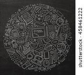 line art chalkboard vector hand ... | Shutterstock .eps vector #458461222