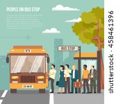 people getting on bus at... | Shutterstock .eps vector #458461396
