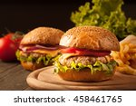 home made hamburger with beef ... | Shutterstock . vector #458461765
