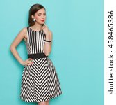 fashion model in striped dress