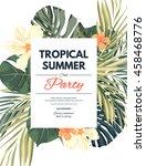 bright hawaiian design with... | Shutterstock .eps vector #458468776