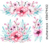 set of bouquets with watercolor ... | Shutterstock . vector #458479432