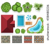 landscape garden design vector... | Shutterstock .eps vector #458480236