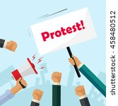 protesters hands holding... | Shutterstock .eps vector #458480512