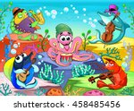 orchestra in the sea. funny... | Shutterstock .eps vector #458485456