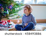 cute little blond kid boy... | Shutterstock . vector #458493886