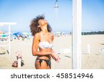 young black woman having a...   Shutterstock . vector #458514946