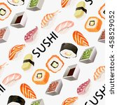 seamless pattern with various... | Shutterstock .eps vector #458529052