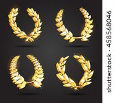 set of gold award laurel wreaths | Shutterstock .eps vector #458568046
