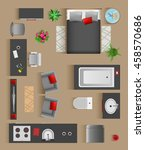 set top view for interior icon... | Shutterstock .eps vector #458570686