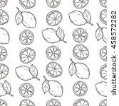 seamless pattern of lemons on... | Shutterstock .eps vector #458572282