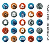 different houses icons for use... | Shutterstock . vector #458573902