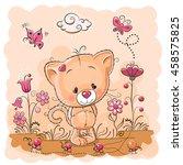 cute cartoon kitten on a meadow ... | Shutterstock . vector #458575825