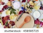 dried herb mix  wooden plate... | Shutterstock . vector #458585725