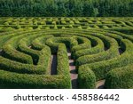green bushes circular labyrinth ... | Shutterstock . vector #458586442
