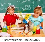 children holding flask and... | Shutterstock . vector #458586892