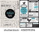 menu placemat food restaurant... | Shutterstock .eps vector #458599396