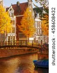 amsterdam canal along typical... | Shutterstock . vector #458608432