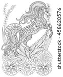 zentangle stylized horse with... | Shutterstock .eps vector #458620576