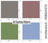 set of 4 seamless woven fabric... | Shutterstock .eps vector #458624272