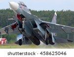 Small photo of KUBINKA, MOSCOW REGION, RUSSIA - JULY 15, 2016: Sukhoi Su-30SM RF-92021 (NATO code name: Flanker-C) multifunctional jet fighter taking off at Kubinka air base.
