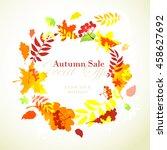 vector illustration autumn sale ... | Shutterstock .eps vector #458627692