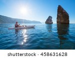 a man fishing on a kayak boat... | Shutterstock . vector #458631628