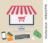 online shopping. business... | Shutterstock .eps vector #458642998
