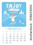 calendar design for 2017 year.... | Shutterstock .eps vector #458653042