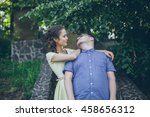 young couple in love on nature ... | Shutterstock . vector #458656312
