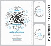 baby shower invitation... | Shutterstock .eps vector #458657965