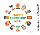 circle of friends avatars of... | Shutterstock .eps vector #458664022