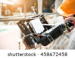fiber optic  technicians are... | Shutterstock . vector #458672458