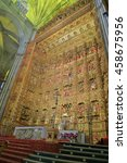 Small photo of JUL 11 2015: Impressing altarpiece plated with gold of the Cathedral of Saint Mary of the See (Seville Cathedral) in Seville, Andalusia, Spain