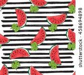 water melon seamless pattern... | Shutterstock .eps vector #458694898