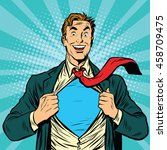super hero male businessman pop ...   Shutterstock .eps vector #458709475