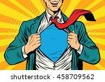 super hero male businessman pop ... | Shutterstock .eps vector #458709562