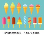 collection of ice cream. set of ... | Shutterstock .eps vector #458715586