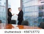 boss instructs young secretary... | Shutterstock . vector #458715772
