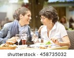 senior woman with home carer... | Shutterstock . vector #458735032